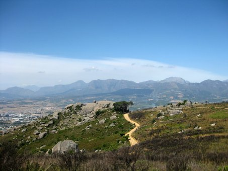 Track, Sandy, Dirt Road, Hill, Boulders, Rocks, Paarl