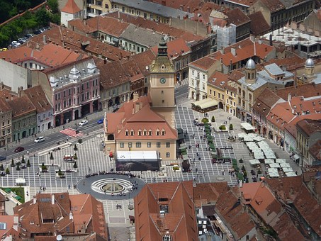Bird's Eye View, City, Brasov, Romania, Europe, Old