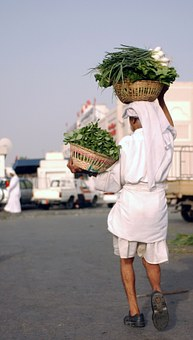 Bahrain, Vegetables, Man, Carrying, Produce, Market