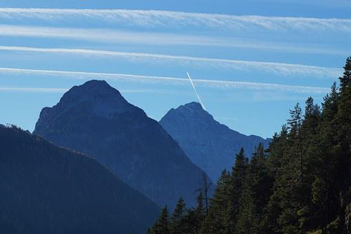 Mountain, Sky, Tyrol, Blue, Contrail, Achensee