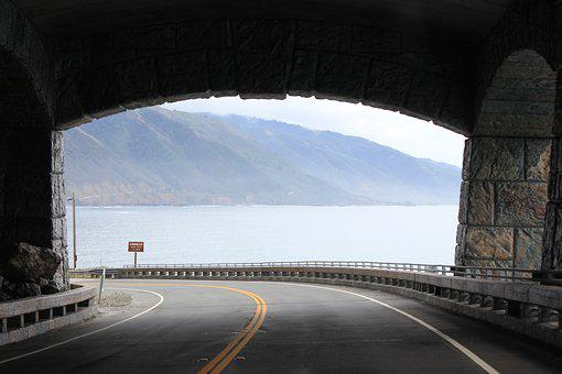 Road, Tunel, Exit, California, Sr1, Coast