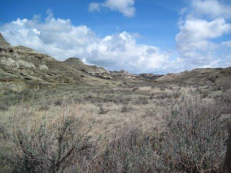 Dinosaur Provincial Park, Steppe, Nature, Landscape