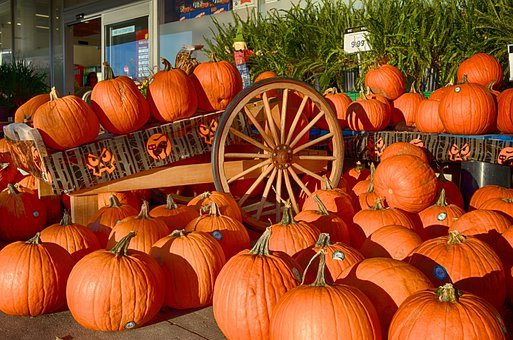 Pumpkins, Orange, Fruits, Wagon, Vehicles, Carrying