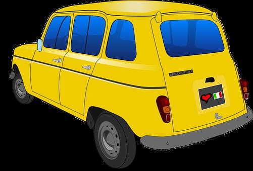 Car, Vintage Car, Yellow, R4, Renault, Renault R4