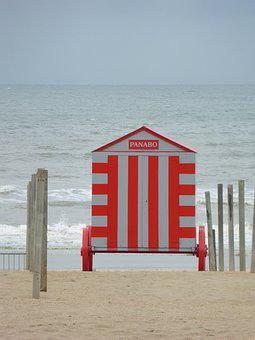 Coast, Belgium, Beach Hut, Sea, West-flanders