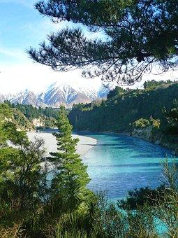 River, Winding, Trees, Landscape, Nature, Sky, Scenic