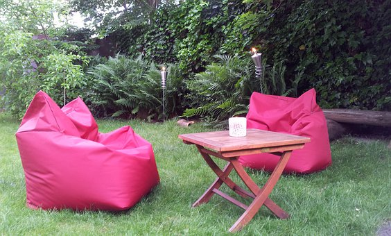 Red Armchair, Garden, Holiday Garden, Torch