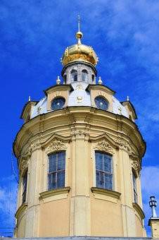 Tower, Pale Yellow, White, Ornate, Cupola, Golden