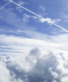Contrail, Clouds, Sky, Aircraft, Fly, Air, Traces