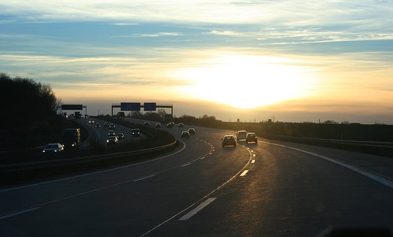 Road, Highway, Autos, Sonnernuntergang, Traffic