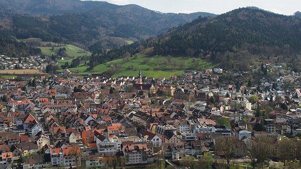 Waldkirch, Village, Black Forest, Bird's Eye View