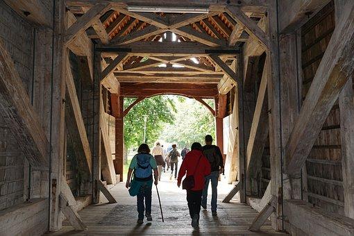 Wooden Bridge, Hiking, Wanderer, Beuron, Germany, Water