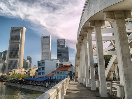 Singapore, Skyline, Buildings, Bridge, Architecture