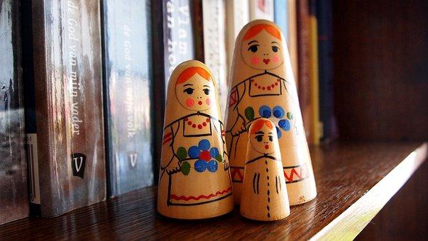 Dolls, Babushka, Handmade, Wood, Colorful, Bookshelf