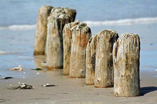 Groynes, Amrum, Nordfriesland, Beach, Sea, North Sea