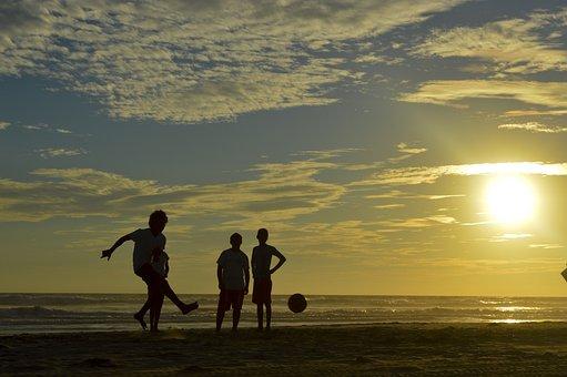 Football, Beach, Children, Balloon, Sunset, Childhood