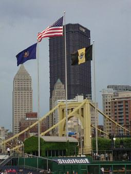 Flags, Pittsburgh, View From The Pnc Park, Pensylvania