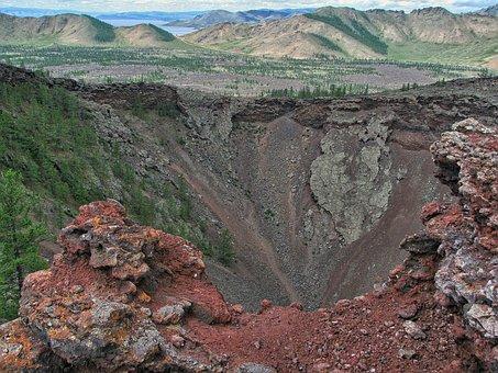 Volcano, Extinct, Volcano Khorgo, Funnel, Lava