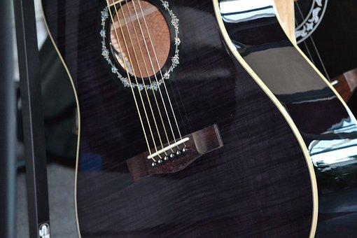 Guitar, Acoustic Guitar, Black, Musical Instrument