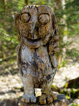 Kobold, Figure, Face, Look, Holzfigur, Carving, Forest