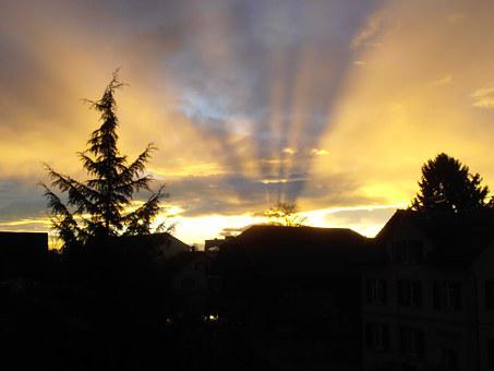 Sunrise, Morgenstimmumg, Skies, Golden Sky, Morgenrot