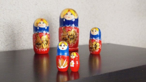 Babushka, Dolls, Wood, Matroeska, Painted, Handmade