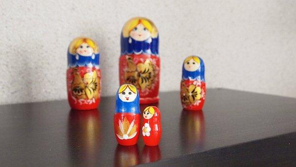 Babushka, Dolls, Wood, Matroeska, Painted, Handmade