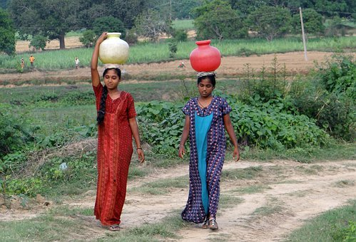Women, Village, Fetching Water, Pot, Hands-free