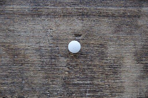 Pushpin, Drawing Pin, Thumbtack, White, Pin, Tack, Wood
