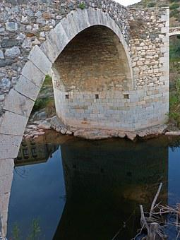Roman Bridge, Stone Bridge, Arc, River, Reflection