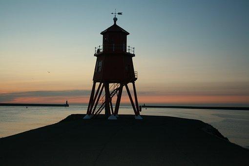 Tyne, Sunrise, South Shields, Pier, Groyne, Lighthouse