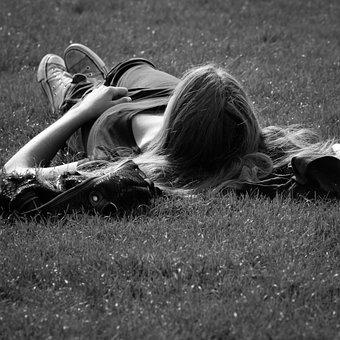 Paris, Garden Of The Invalides, Woman, Sunbathing, Rest