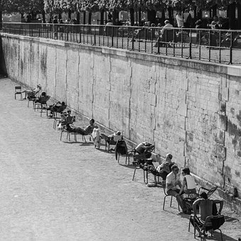 Paris, Street, Jardin Des Tuileries, Relax, Sunbathing