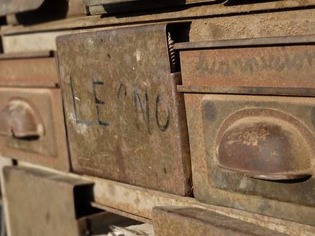 Drawers, Old, Rusted, Tool, Container, Box, Handle