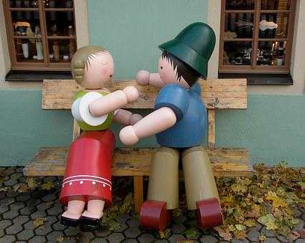 Wooden Figures, Lovers, Figures, Turned, Painted, Folk