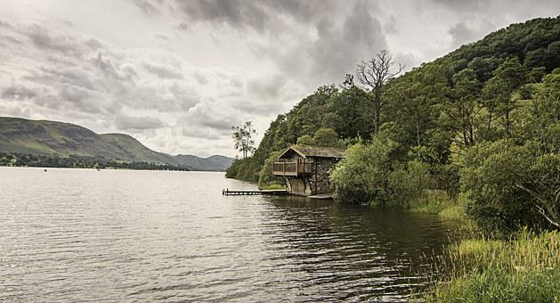 Lake District, Boathouse, Water, United Kingdom