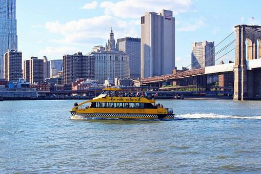New York, Water Taxi, Boat, Water, City, Manhattan