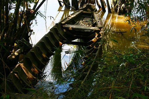 Sunken Boat, Jungle, Abandoned, Boat, Coast, Crashed