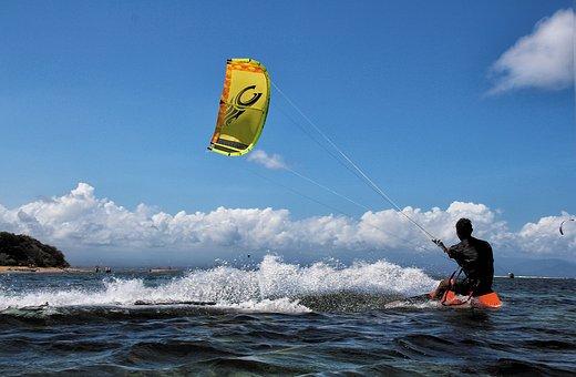 Kite Surfing, Bali, Sanur, Aquatics, Action, Wind