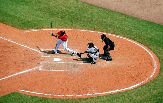 Baseball, Player, Catcher, Umpire, Batter, Swing