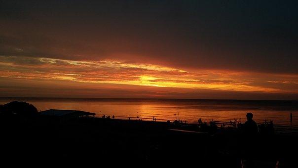 Sunset, Cutter, Sea, The Coast, Poland, Beach