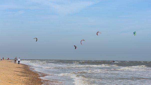 Kite Surfing, Sea, Wind, Kite, Ocean, Surfing, Beach