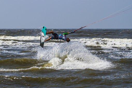 Beach, Kite, Kite Surfing, Spray, Surfboard, Sand Beach
