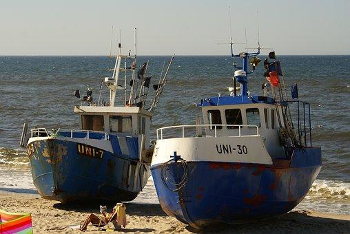 Boats, Cutters, Cutter, Ship, Sea, Beach, The Coast