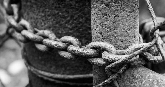 Column, Chain, Security, Closed, Gate, Black And White