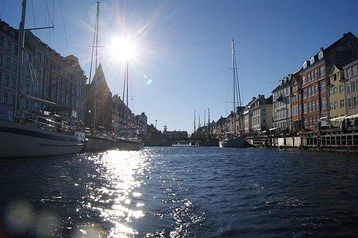 Boat, Sea, Channel, Copenhagen, River, The Sun, Light