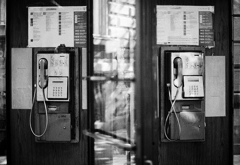 Phones, Wired, Old, Unused, Telephone, Booth, Symmetry