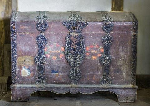 Old Chest, Chest With Iron Fittings, Wooden Chest