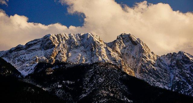Giewont, Winter, Masuria, Clouds, Landscape