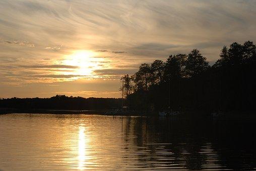 West, Nature, Summer, The Sun, Sunset, Sky, Clouds, Sea